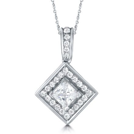 18ct White Gold  G, VS  Diamond pendant princess cut centre with cluster halo on grain swinging bail